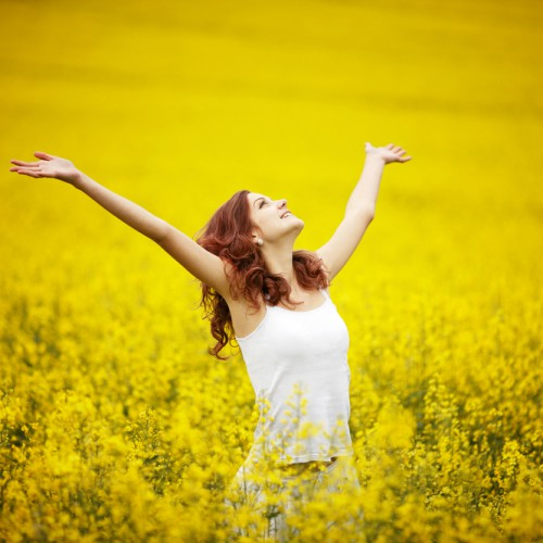 woman in golden field